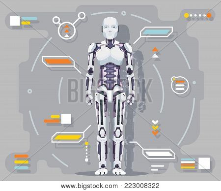 Android artificial intelligence robot futuristic information interface design flat vector illustration