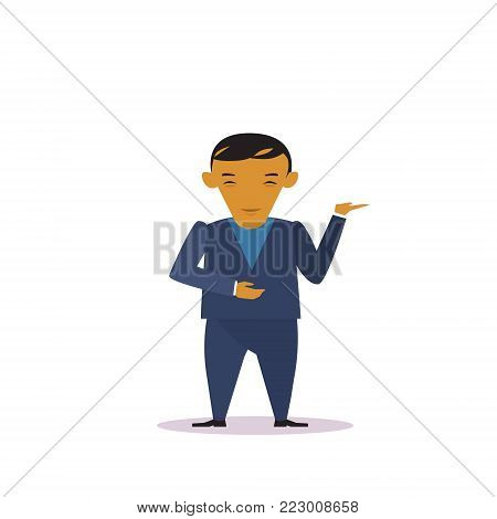Cartoon Asian Business Man In Suit Gesturing Presenting Or Showing Over Copy Space Isolated Over White Background Flat Vector Illustration