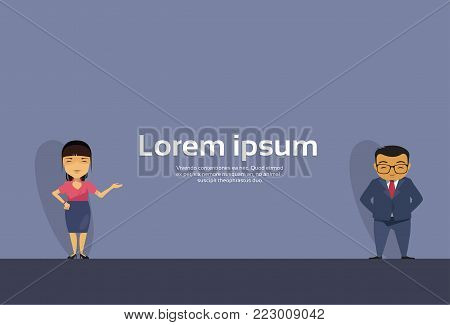 Cartoon Asian Business Man And Woman Hand Gesture To Copy Space Presenting Or Showing Flat Vector Illustration