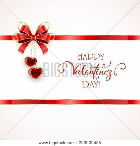 Red ribbon with bow and two shining hearts. Lettering Happy Valentines Day on white background, illustration.