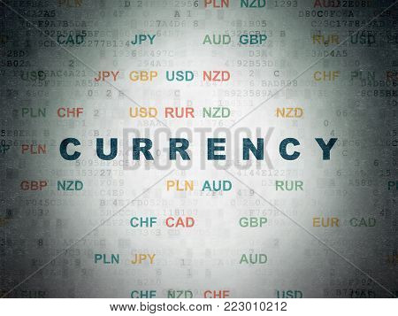 Currency concept: Painted blue text Currency on Digital Data Paper background with Currency