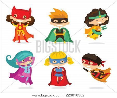 Cartoon vector illustration of Kids superheros wearing comics costumes isolated on the white background