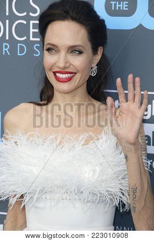 Angelina Jolie at the 23rd Annual Critics' Choice Awards held at the Barker Hangar in Santa Monica, USA on January 11, 2018.