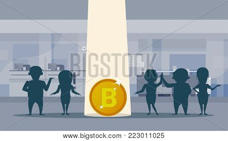 Bitcoin Sign Over Silhouette Business People Group Office Interior Background Crypto Currency Technology Concept Flat Vector Illustration