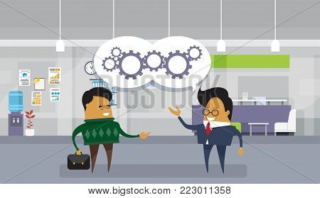Brainstorming Meeting Asian Business Man Discuss New Ideas Projects Modern Office Background Flat Vector Illustration