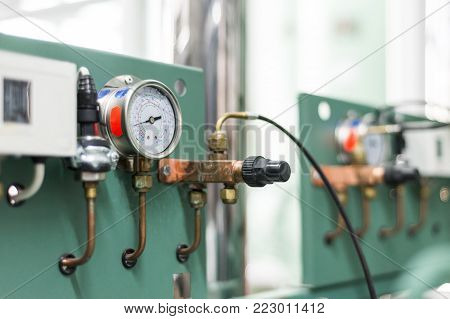 Control panel and control. Industrial refrigerating machine.