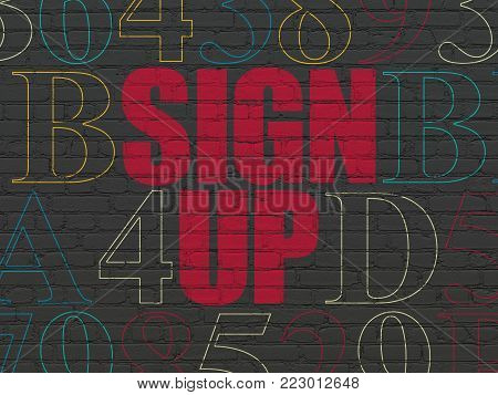 Web design concept: Painted red text Sign Up on Black Brick wall background with Hexadecimal Code