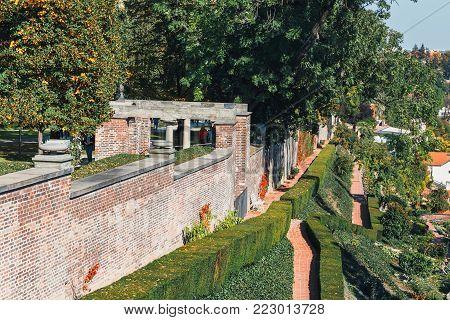 Furstenberg garden in Prague Castle is largest of palace terrace gardens under Prague Castle
