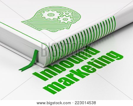 Advertising concept: closed book with Green Head With Gears icon and text Inbound Marketing on floor, white background, 3D rendering