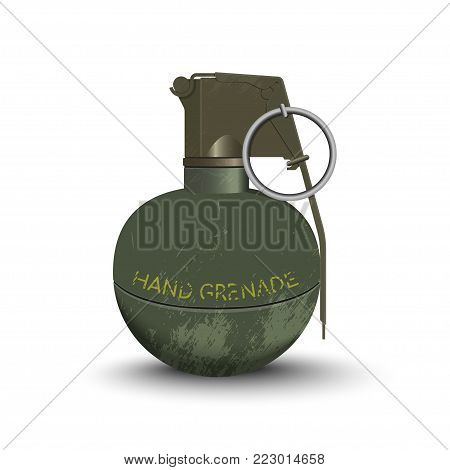 Detailed realistic image of hand grenade. Army explosive. Weapon icon. Military object. Vector illustration
