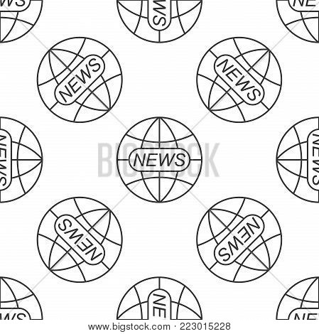 World and global news concept icon seamless pattern on white background. World globe symbol. News sign icon. Journalism theme, live news. Flat design. Vector Illustration