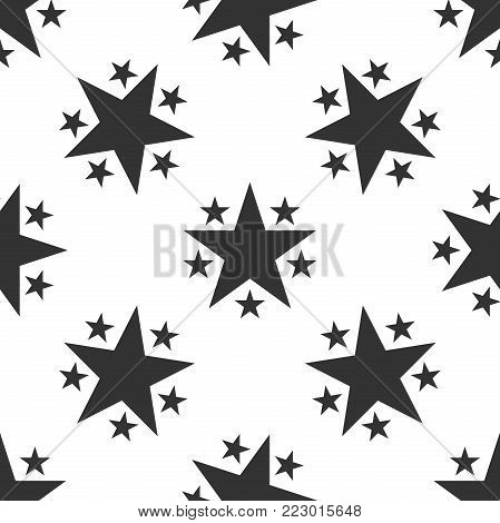 Star icon seamless pattern on white background. Favorite, Best Rating, Award symbol. Flat design. Vector Illustration