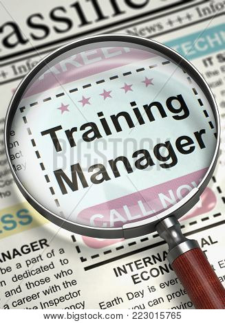 Training Manager - Close Up View Of A Classifieds Through Loupe. Column in the Newspaper with the Classified Ad of Training Manager. Job Search Concept. Blurred Image with Selective focus. 3D.