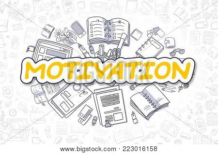 Motivation - Sketch Business Illustration. Yellow Hand Drawn Text Motivation Surrounded by Stationery. Cartoon Design Elements.