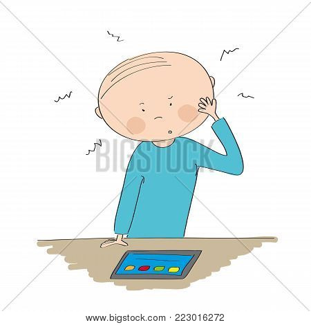 Puzzled young man standing behind the table and looking at the tablet - original hand drawn illustration