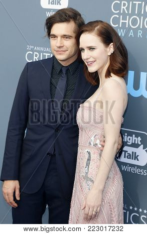 Jason Ralph and Rachel Brosnahan at the 23rd Annual Critics' Choice Awards held at the Barker Hangar in Santa Monica, USA on January 11, 2018.