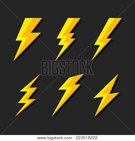 Thunder and Bolt Lighting Flash Icons Set. Flat Style on Dark Background. Vector illustration