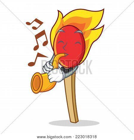 With trumpet match stick mascot cartoon vector illustration