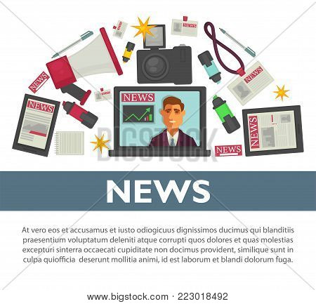 News poster flat vector design of TV anchorman broadcast reporter or journalist working items. Notebook computer with news television, video camera and pen with notepad or event access badge