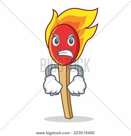 Angry match stick mascot cartoon vector illustration