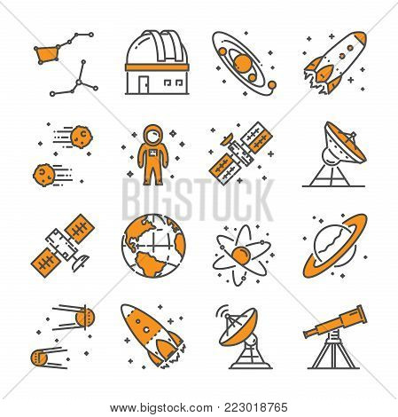 Vector linear icon set for astronomy. Line web symbol for space.