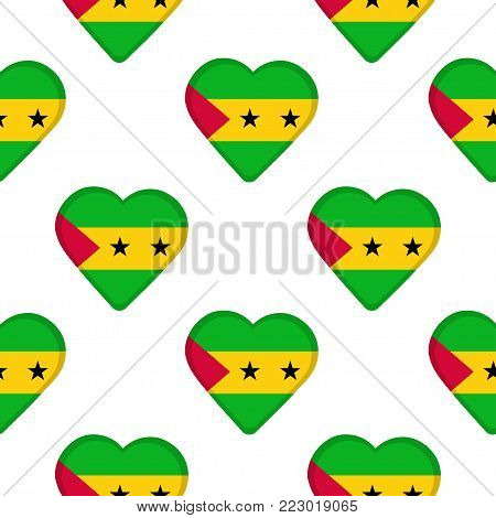 Seamless pattern from the hearts with flag of Sao Tome and Principe. Vector illustration