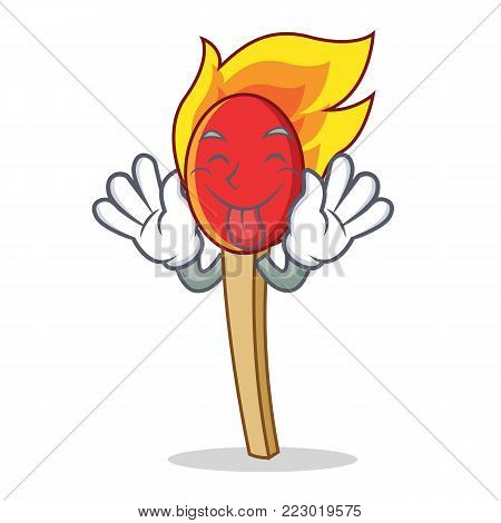Tongue out match stick mascot cartoon vector illustration