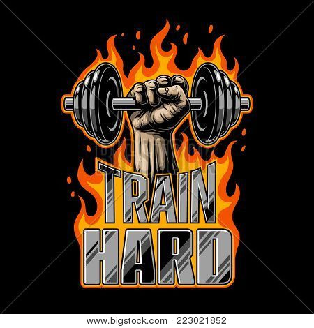 Bodybuilding poster with dumbell in the fist and flame. Hot vector design