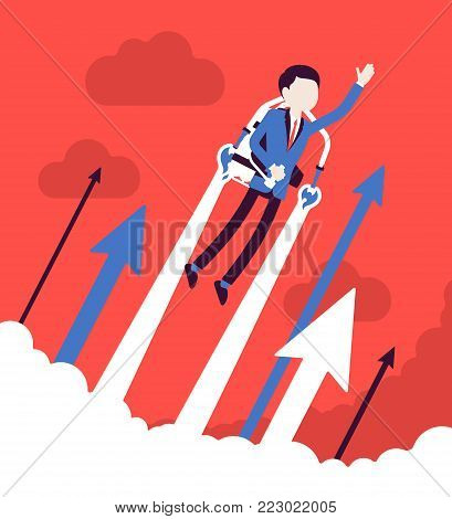 Jetpack businessman flight. Young man with backpack device, got a push into the air to success, flying up to profit, achieving of results. Vector business concept illustration with faceless characters
