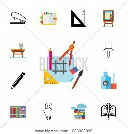 Icon set of stationary. Icon set of stationary. School, drafting, drawing. Craft concept. Can be used for topics like leisure, art, education