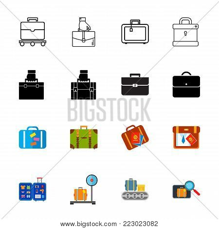 Icon set of suitcase. Bag, luggage, baggage. Personal belongings concept. Can be used for topics like airport, transportation, travel