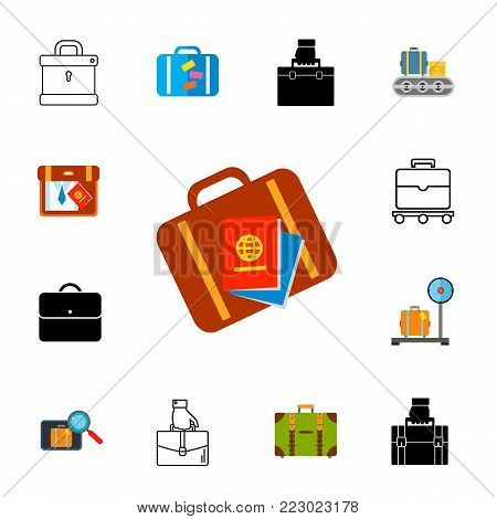 Icon set of suitcases. Luggage storage, luggage delivery, hand luggage. Airport concept. Can be used for topics like transportation, travel, service