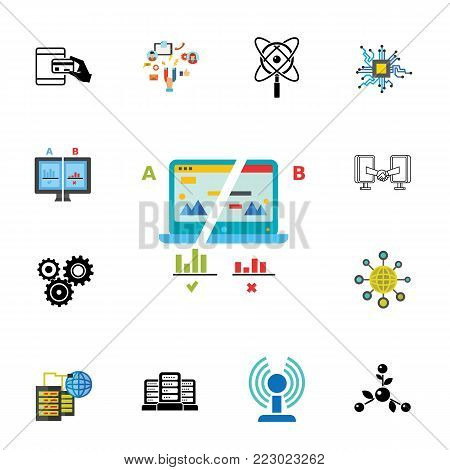 Icon set of technology symbols. Connection, internet, computer. Business technology concept. Can be used for topics like business, innovation, communication