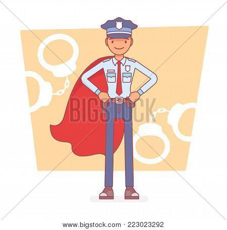 Super policeman at duty. Best trained, qualified officer in uniform and cloak, police superhero with superhuman powers to save city from crime. Vector line art illustration