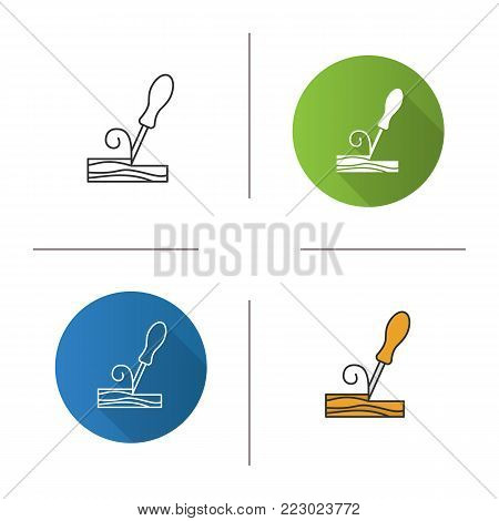 Wood chisel icon. Flat design, linear and color styles. Firmer chisel. Isolated vector illustrations