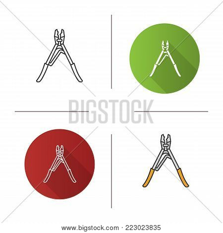 Crimping tool icon. Flat design, linear and color styles. Isolated vector illustrations