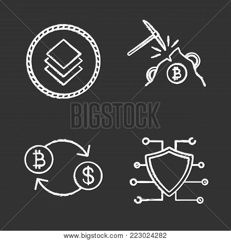 Cryptocurrency chalk icons set. Stratis coin, mining, bitcoin exchange, cyber security. E-currency. Isolated vector chalkboard illustrations