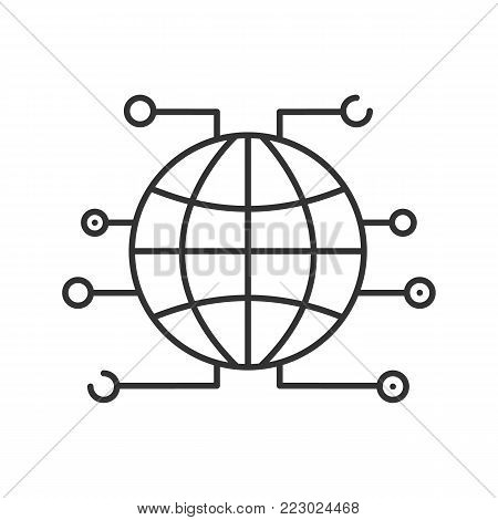Global cryptocurrency linear icon. World wide web. Thin line illustration. Internet access. Contour symbol. Vector isolated outline drawing