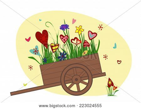 Flower arrangement from blooming hearts in the garden cart. Wheelbarrow, trolley filled with flowers. Vector illustration symbolizing joy, love and happiness. Perfect for greeting cards. Horizontal.