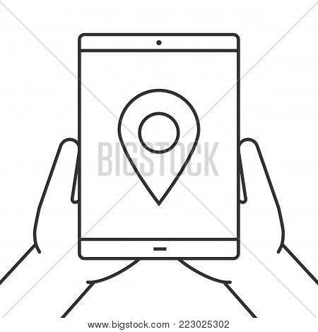 Hands holding tablet computer linear icon. Gps navigation. Thin line illustration. Tablet computer with map pinpoint. Contour symbol. Vector isolated outline drawing