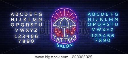 Tattoo salon logo in a neon style. Neon sign, emblem, umbrella symbol, light billboards, neon bright advertising on tattoo theme, for tattoo salon, studio. Vector illustration. Editing text neon sign.