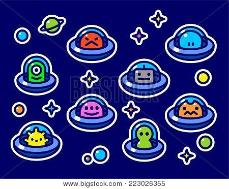 UFO aliens stickers collection, different colorful extraterrestrials in flying saucers set with stars and planets, fat line cartoon style, baby vector illustration on blue background