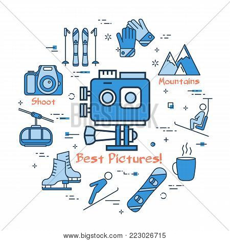 Vector linear blue round concept of Winter Action Camera Shooting. Line icons of winter outdoor recreation, skiing, ski lifts and mountain holidays