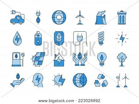 Vector set of 24 blue outline icons. Ecology, eco system, future technology of saving resources and clean planet