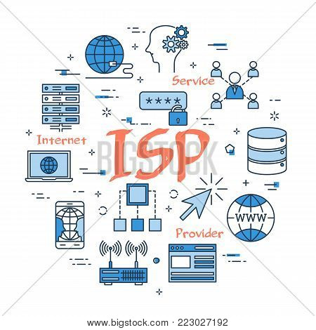 Vector linear blue round concept of Internet Service Provider. Red sign ISP and internet thin line icons, secure connection, transfer files and server data center poster
