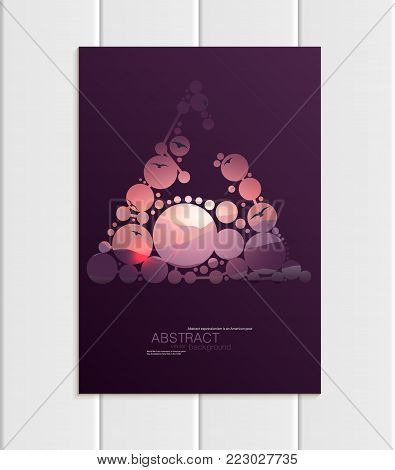 Stock vector A5 or A4 format brochure design business template with abstract circles and mountain landscape at sunset, dawn backgrounds for printed material, corporate style element, card, cover, wallpaper