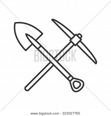 Crossed shovel and pickaxe linear icon. Mining. Thin line illustration. Contour symbol. Pick axe and dig. Vector isolated outline drawing