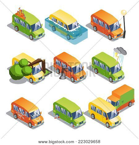 Isometric car insurance set with transport and tires theft accident truck damaged by natural disasters hooliganism isolated vector illustration