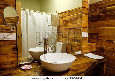 Thimphu, Bhutan - Aug 30, 2015. Interior Of Wooden Bathroom At Luxury Hotel In Thimphu, Bhutan. Bhut