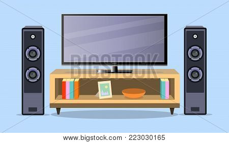 Design TV zone in a flat style. Interior living room with furniture, tv set and shelf.  illustration. EPS